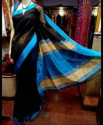 Black Blue Handloom Ghicha Sarees (Add to Cart Get 15% Extra Discount)