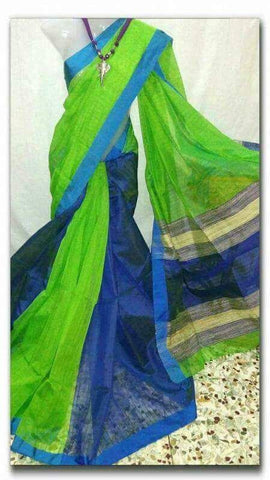 Green Blue Handloom Ghicha Sarees (Add to Cart Get 15% Extra Discount)