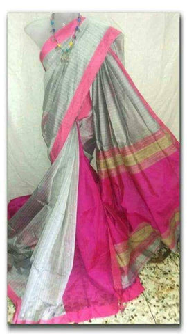 Grey Pink Handloom Ghicha Sarees (Add to Cart Get 15% Extra Discount)
