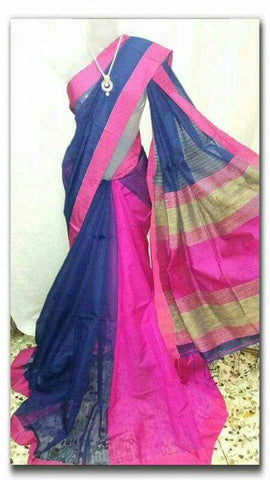 Blue Pink Handloom Ghicha Sarees (Add to Cart Get 15% Extra Discount)