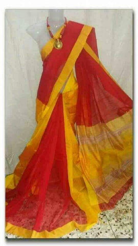 Red Yellow Handloom Ghicha Sarees