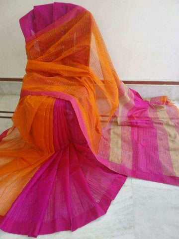 Orange Pink Handloom Ghicha Sarees