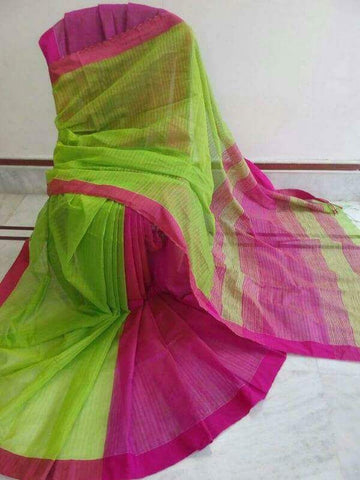 Green Pink Handloom Ghicha Sarees (Add to Cart Get 15% Extra Discount)