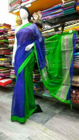 Blue Green Handloom Ghicha Sarees (Add to Cart Get 15% Extra Discount)