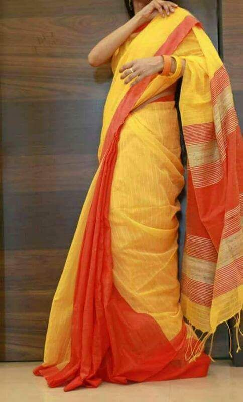 Yellow Orange Handloom Ghicha Sarees