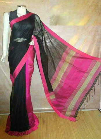 Black Pink Handloom Ghicha Sarees (Add to Cart Get 15% Extra Discount)