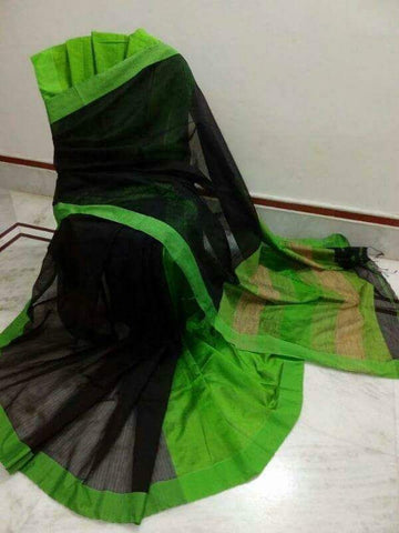 Black Green Handloom Ghicha Sarees (Add to Cart Get 15% Extra Discount)