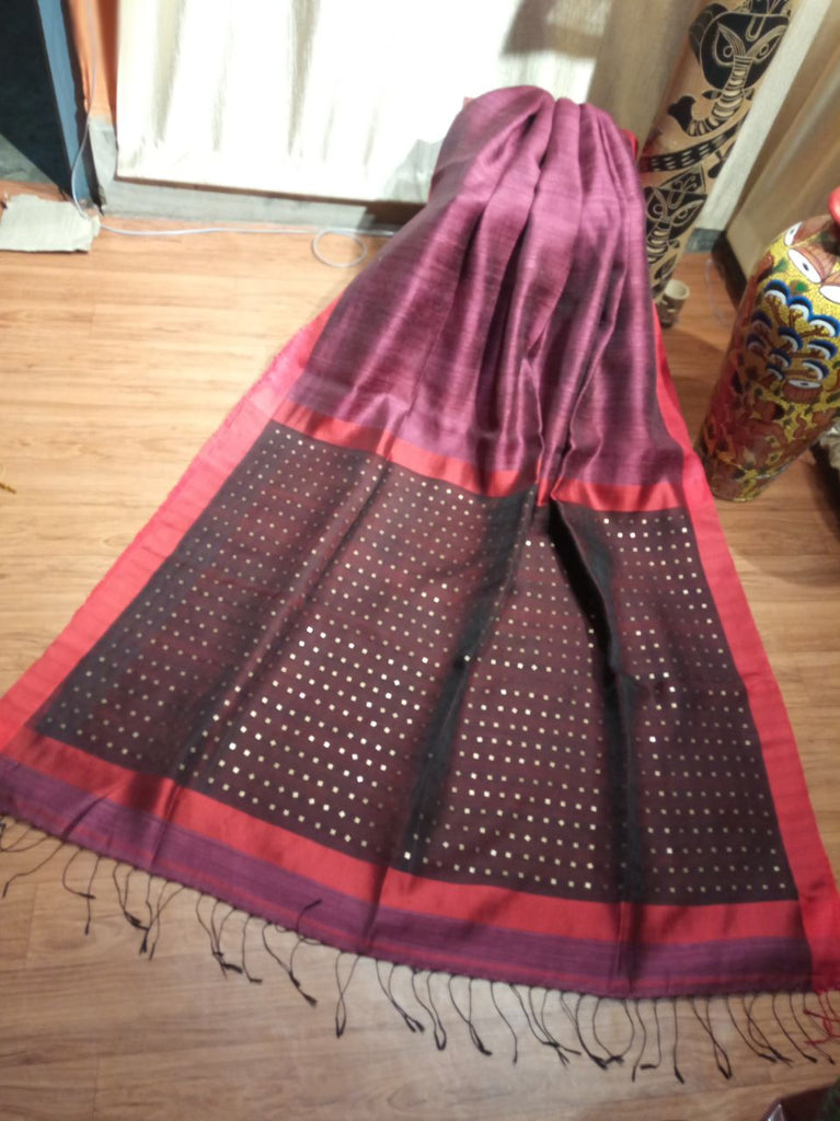 Purple Maroon Black Matka Silk Sarees
