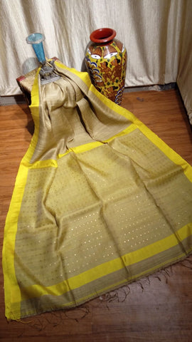 Yellow Beige Matka Silk Sarees