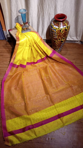 Orange Yellow Matka Silk Sarees