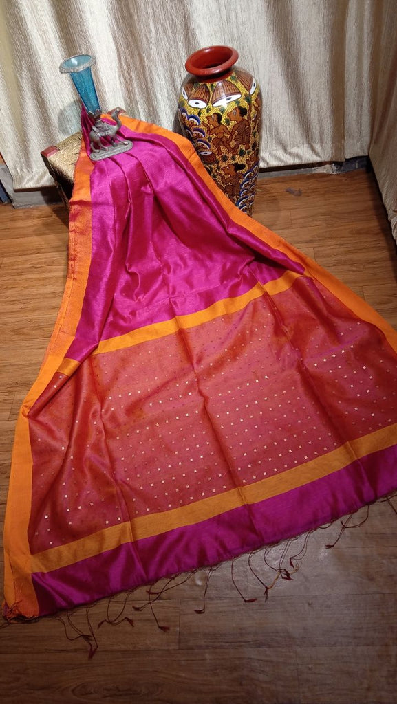 Pink Orange Matka Silk Sarees