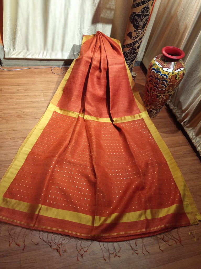 Orange Matka Silk Sarees