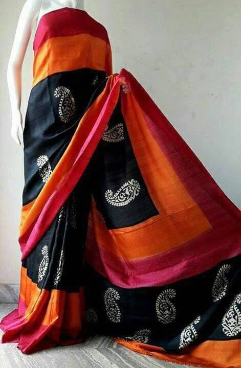 Black Orange Pure Murshidabad Silk Sarees (Add to Cart Get 15% Extra Discount)