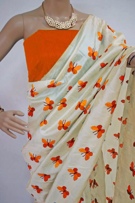 Orange Titli Chanderi Cotton Sarees