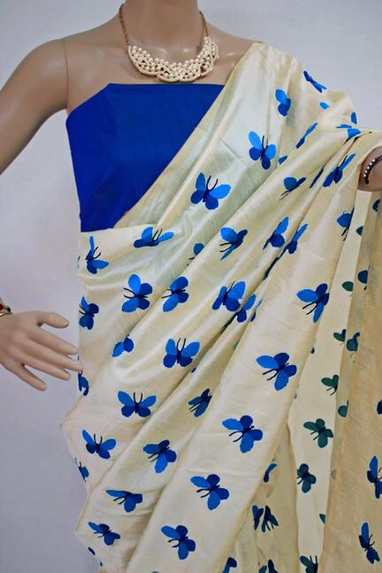 Blue Titli Chanderi Cotton Sarees