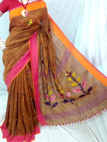 31725e14bf4548 Buy Linen Sarees Online at Sale Price - Stylish Linen Sarees Online ...