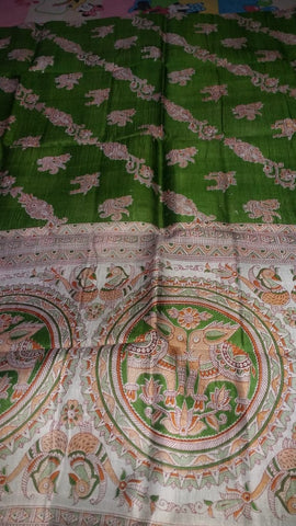 Green Golden Pure Tussar Silk Madhubani Sarees