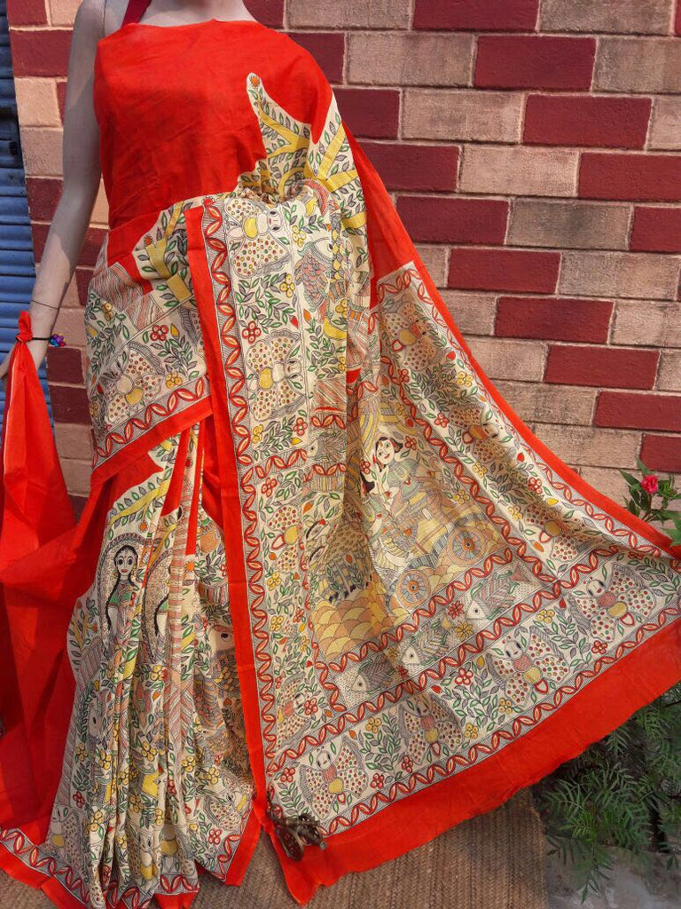 Orange Silver Pure Tussar Silk Madhubani Sarees