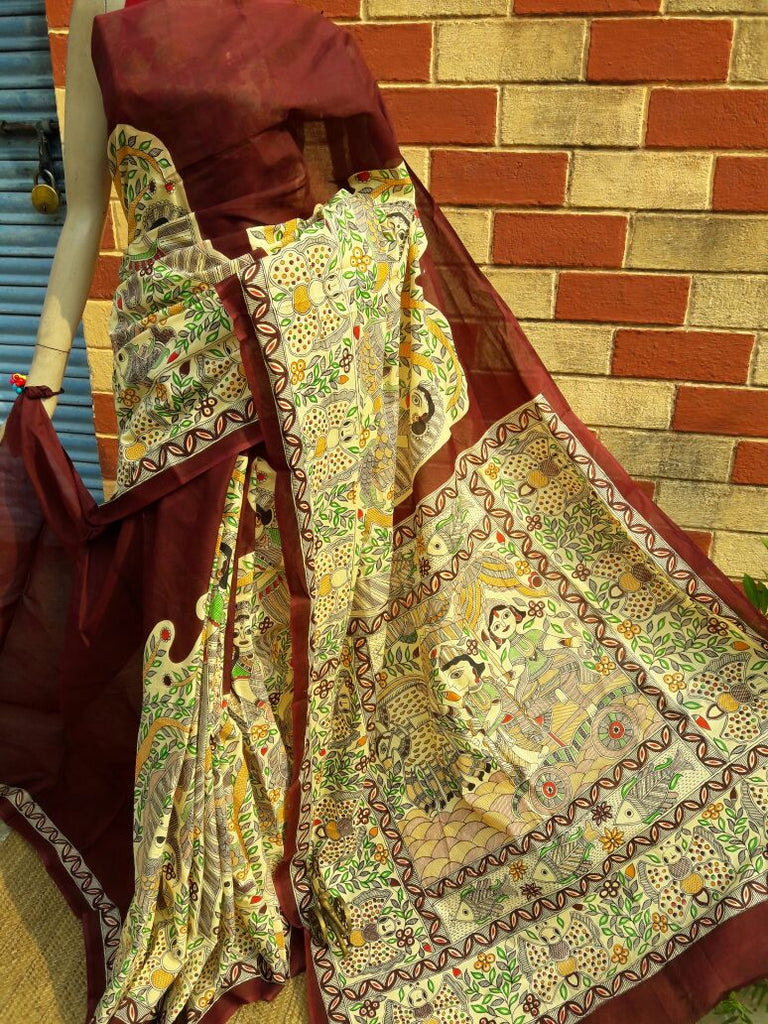 Brown Golden Pure Tussar Silk Madhubani Sarees