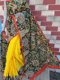 Yellow Black Pure Tussar Silk Madhubani Sarees