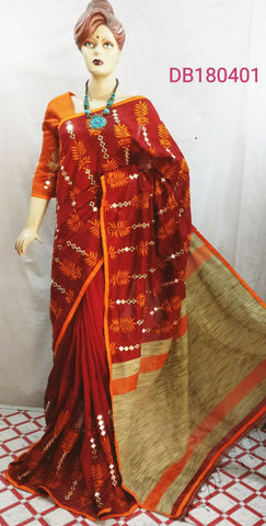 Beige Orange Red Handloom Silk Sarees