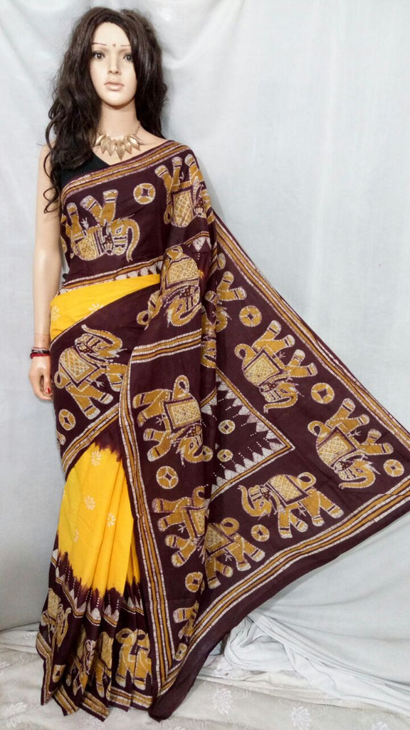 Brown Yellow Boutique Special Sarees
