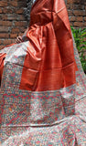Ready to Ship Orange Beige Madhubani Handpaint Tussar Ghicha Silk Sarees