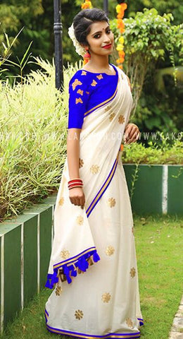 Blue White Chanderi Cotton Sarees