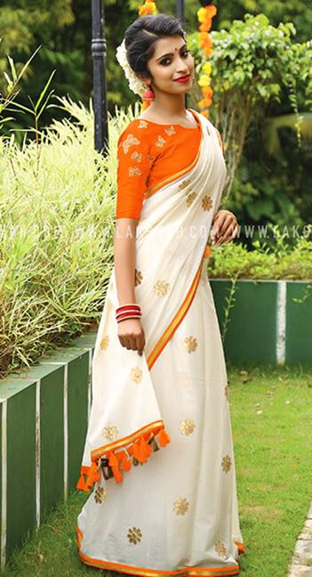Orange White Chanderi Cotton Sarees