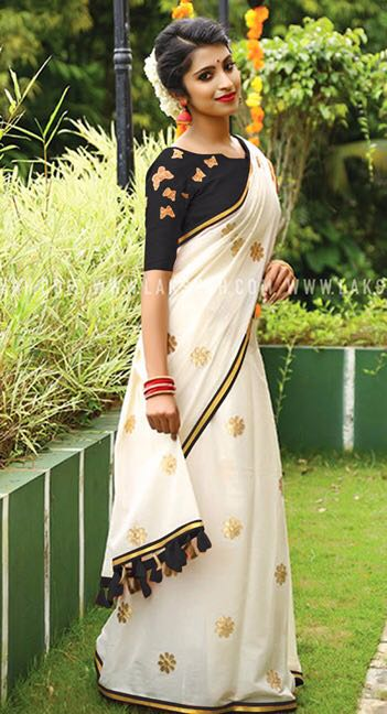 Black White Chanderi Cotton Sarees