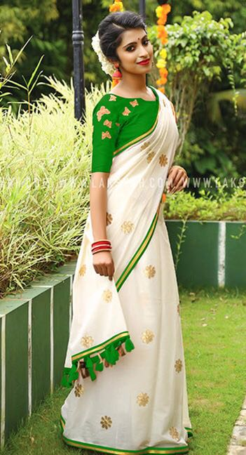 Green White Chanderi Cotton Sarees