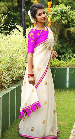Purple White Chanderi Cotton Sarees