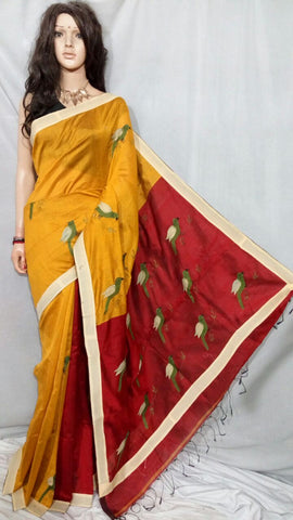 Yellow Red Applique Sarees