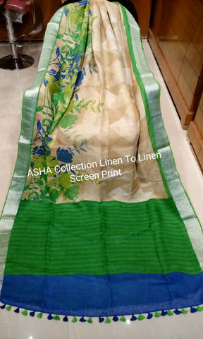 Green Beige Linen Boutique Special Sarees