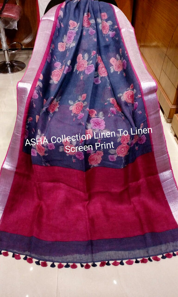 Blue Maroon Linen Boutique Special Sarees