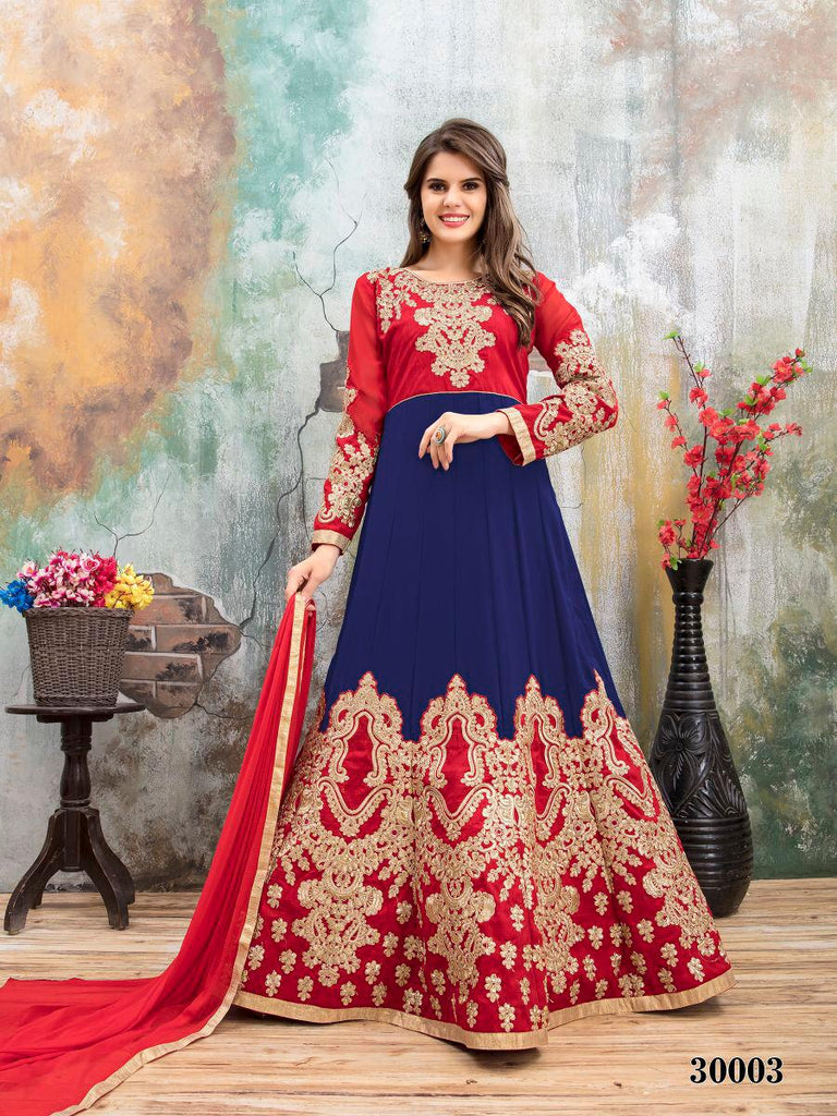 Blue Red Designer Lehenga Choli