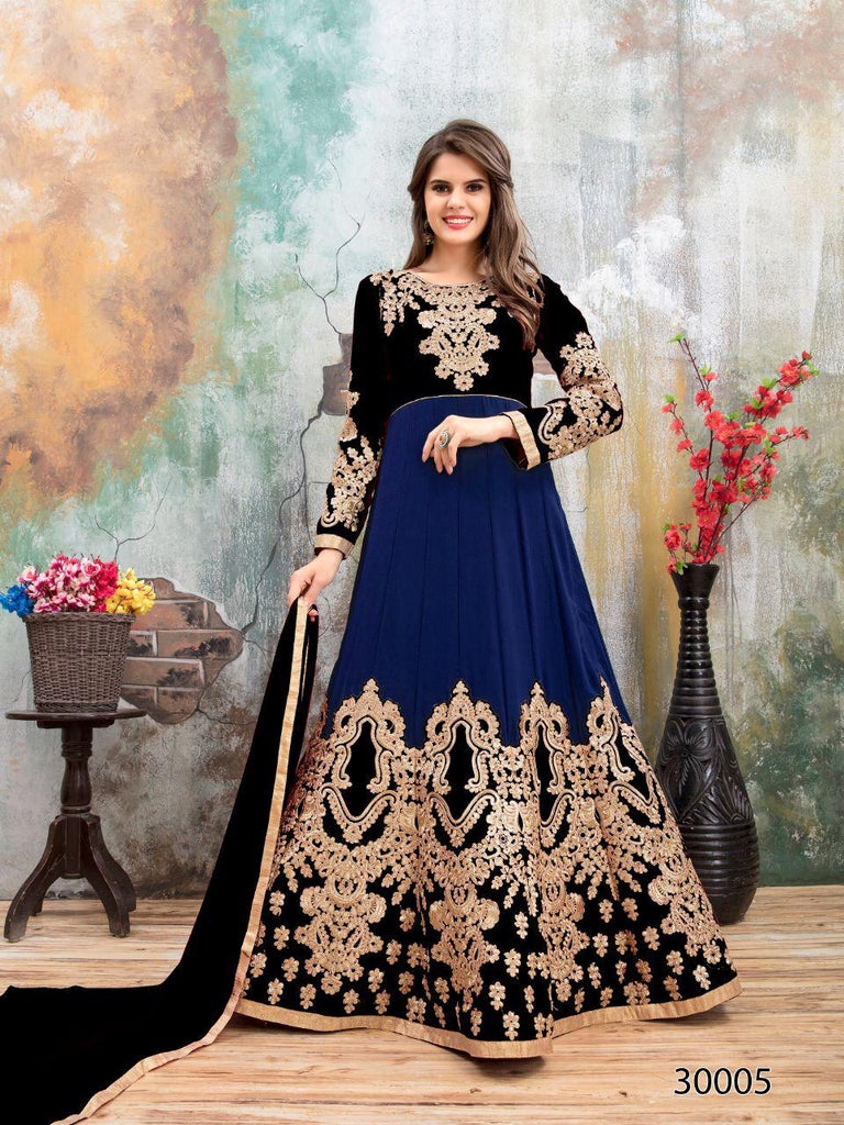 Blue Black Designer Lehenga Choli