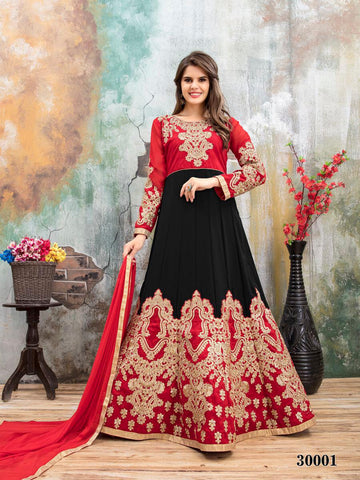 Black Red Designer Lehenga Choli