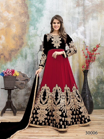 Red Black Designer Lehenga Choli