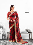 Red Brown Designer Party Wear Sarees