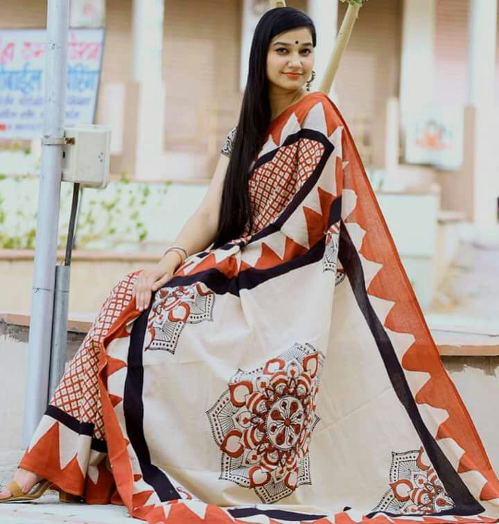 Orange White Bagru Printed Cotton Sarees