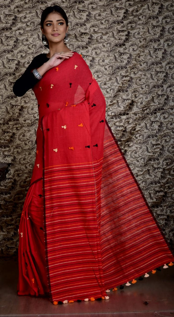 Red KK Khadi Sarees