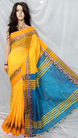 267755f1e54bc5 Yellow Blue Shreya Handloom Cotton Silk Sarees