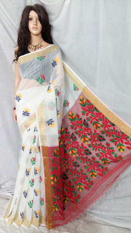 White Shreya Khadi Jamdani Sarees (Add to Cart Get 20% Extra Discount)