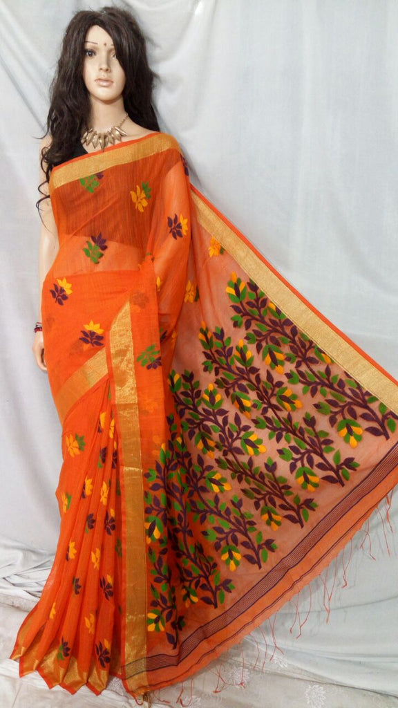 Orange Shreya Khadi Jamdani Sarees (Add to Cart Get 15% Extra Discount)