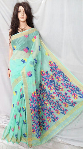 Green Shreya Khadi Jamdani Sarees (Add to Cart Get 15% Extra Discount)