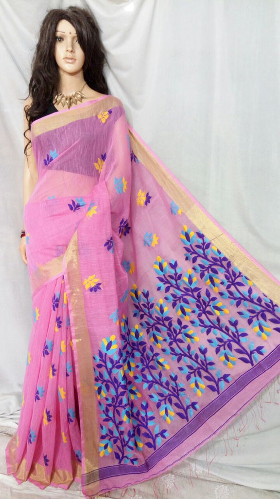 Pink Shreya Khadi Jamdani Sarees (Add to Cart Get 15% Extra Discount)