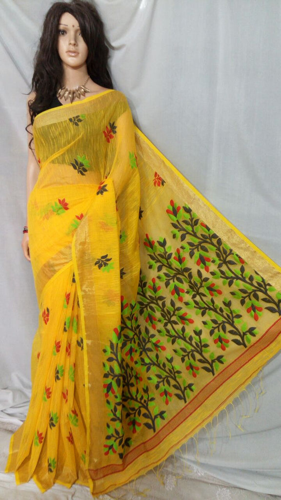 Yellow Shreya Khadi Jamdani Sarees (Add to Cart Get 15% Extra Discount)