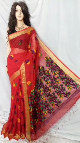 Red Shreya Khadi Jamdani Sarees (Add to Cart Get 15% Extra Discount)