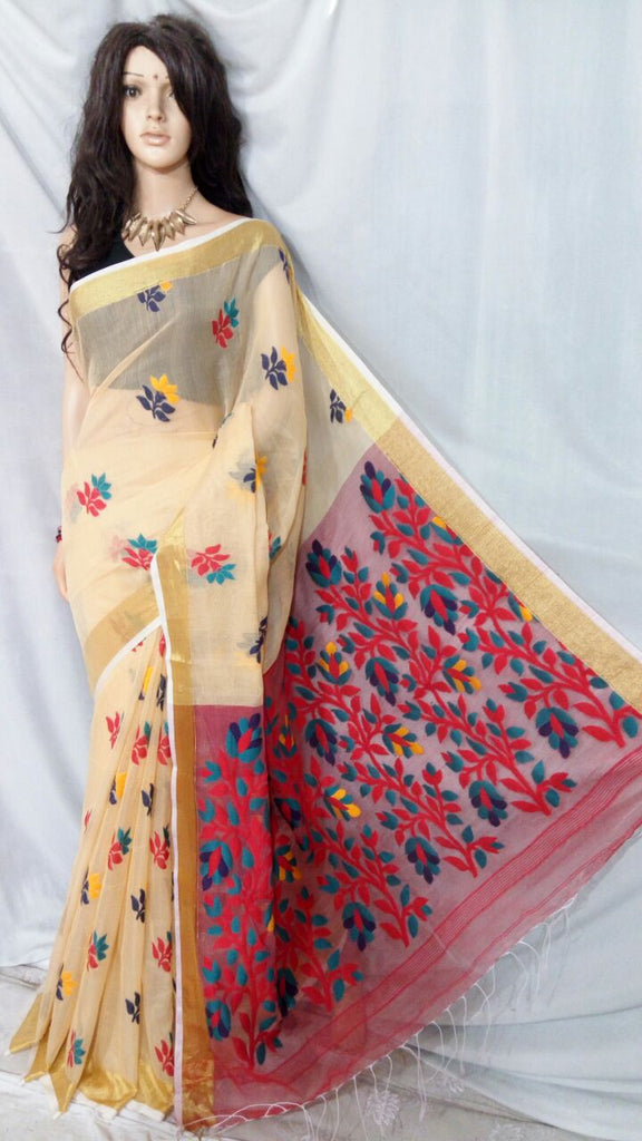 Beige Shreya Khadi Jamdani Sarees (Add to Cart Get 15% Extra Discount)